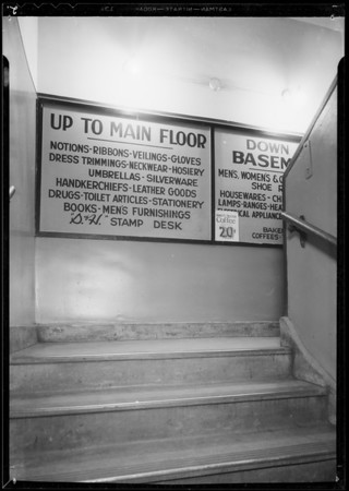 Curtis vs. Walkers department store, file #5864114, stairway, Southern California, 1934