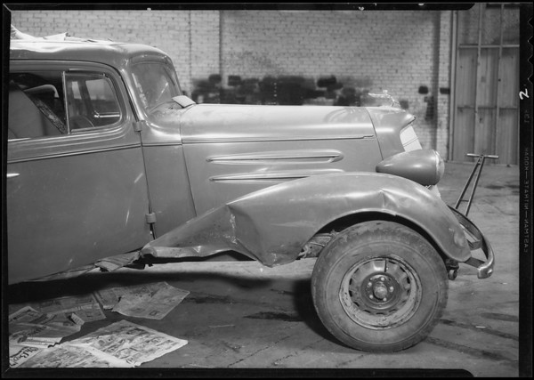 Wrecked Oldsmobile, Southern California, 1934