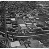 Aerial view looking west into Culver City over Ballona Creek at the intersection of Jefferson Boulevard and Higuera Street