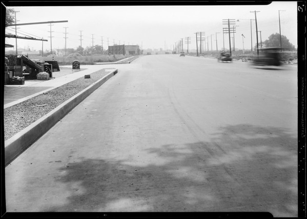 Skid marks at 854 San Fernando Road, Los Angeles, CA, 1934