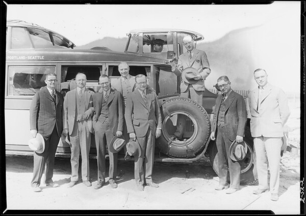 Groups of men at Firestone factory, Southern California, 1928