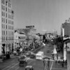 Looking east along Hollywood Boulevard from the intersection with Highland Avenue as the street becomes Santa Claus Lane for the Christmas season, ca.1938-1939