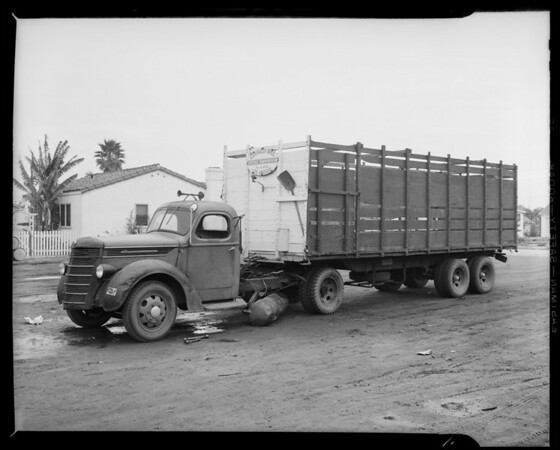 Garibaldi Brothers truck to show damage, Southern California, 1941