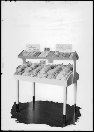 New candy rack, Southern California, 1931