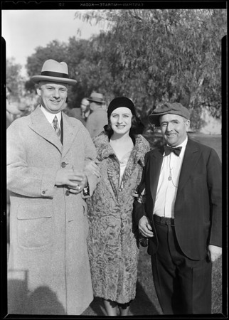One eyed Connolly, Mrs. Josephine Schildkrant, Mr. Nelson at breakfast club, Southern California, 1930
