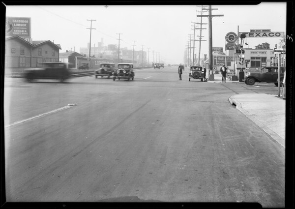 Street scene of accident on South Alameda Street and East 38th Street, Los Angeles, CA, 1931