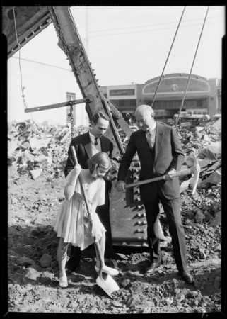 Breaking ground for new dancing school, 607 South Western Avenue, Los Angeles, CA, 1930