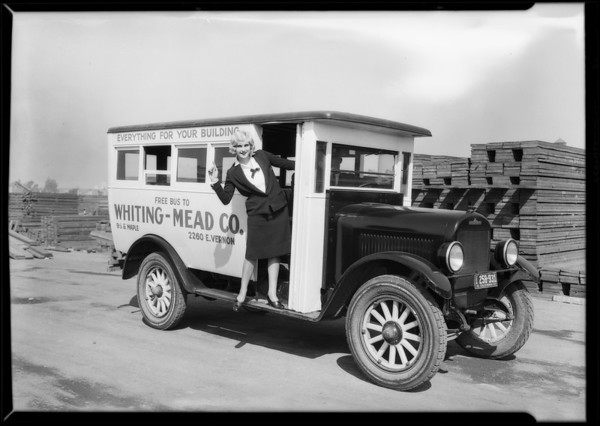 Jean Douglas at Whiting-Mead Co. truck, Southern California, 1927