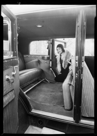 Seat covers in car, Mona Rick & May Kornman, Southern California, 1930