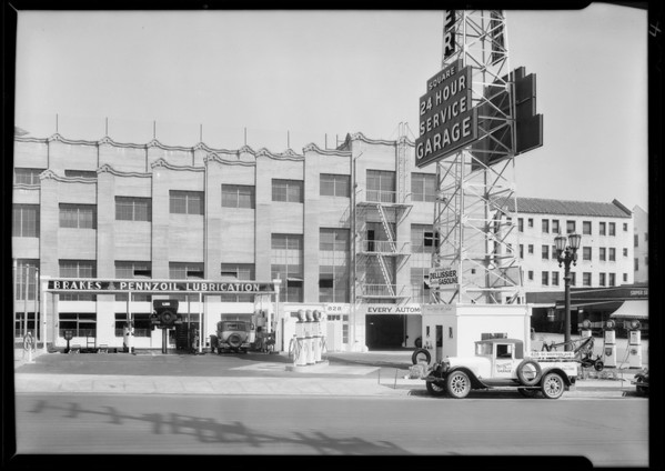 Exterior view of grease rack at Pellissier Square Garage, 828 South Western Avenue, Los Angeles, CA, 1931
