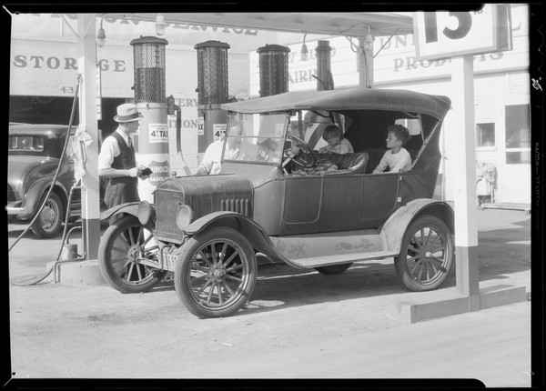 Limousine at Union service station, Southern California, 1932