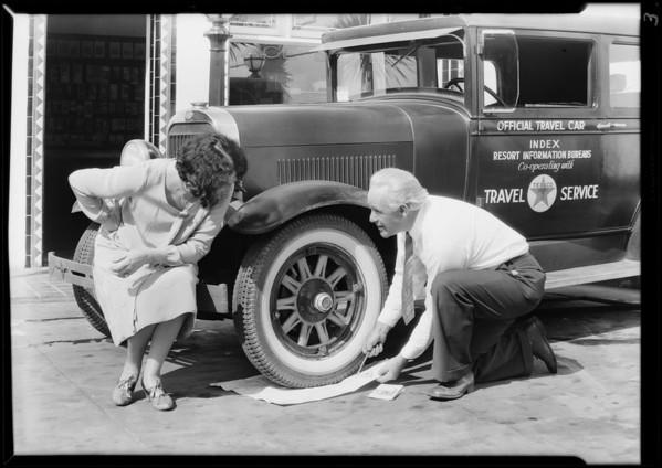 Dayton tires on Texaco information car, Mr. Van Tuyle, Southern California, 1929