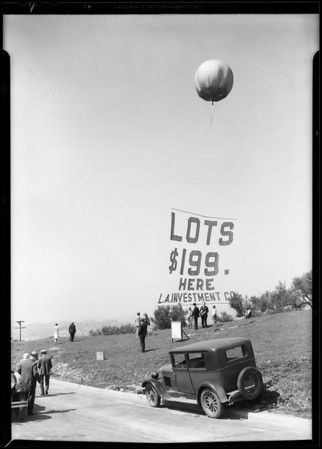 Quick sell out of Oak Ridge lots, Southern California, 1930