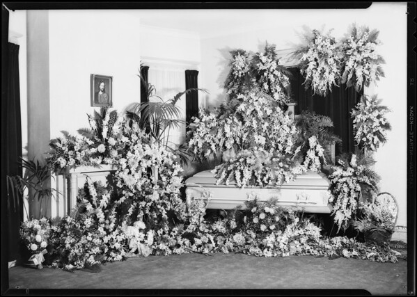 Flowers and casket, Southern California, 1931