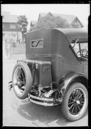Leather rear trunk, Chevrolet Touring, Southern California, 1926