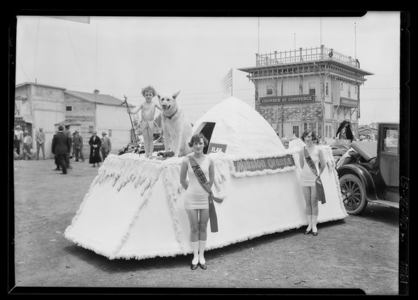 Mission Orange drink float in Venice parade, Southern California, 1926