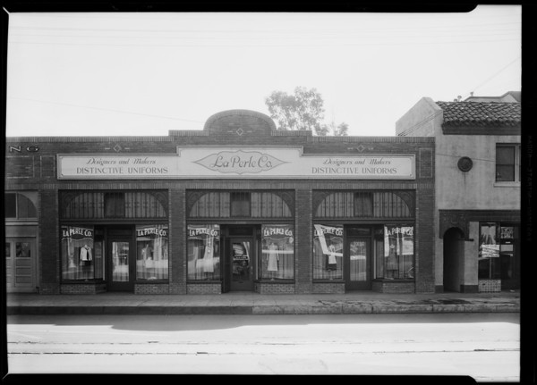 Exterior of stores, 2358 West Washington Boulevard, Los Angeles, CA, 1930
