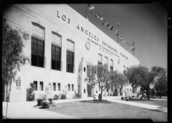 Exterior views of swimming stadium, Southern California, 1932