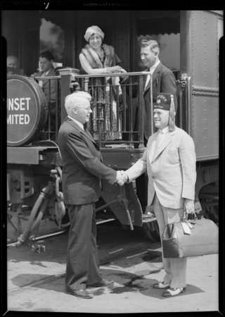 Greeting Shriner at station, Douglas E. Foster, Mr. & Mrs. Gregory, Southern California, 1931