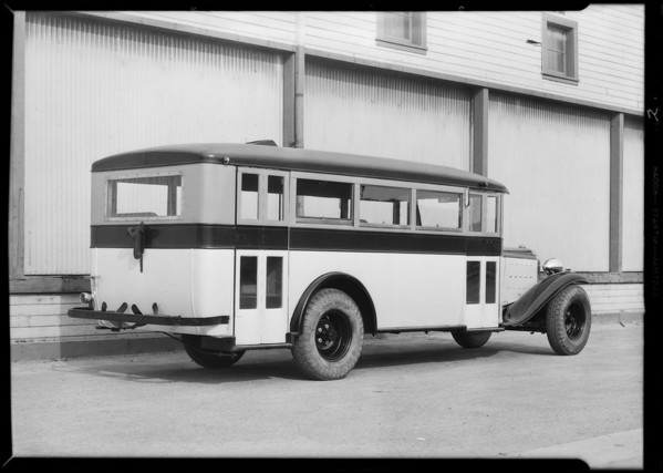 Bus, Buick chassis, Southern California, 1932