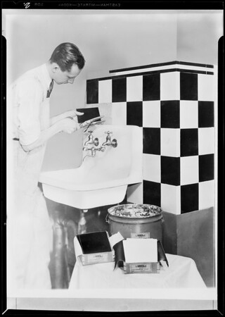 Copies of wash drawings, man placing tile, Southern California, 1931