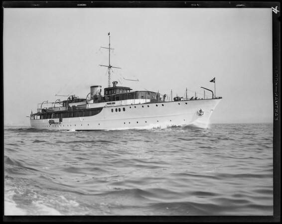 Interior & action shots of yacht Carissima, Southern California, 1929