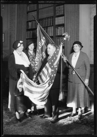 Mayor presenting flags, Los Angeles, CA, 1935
