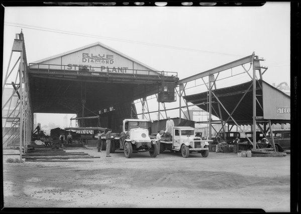 Steel plant and trucks, Blue Diamond Co., Southern California, 1931