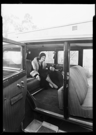 Seat covers in car, Mona Rick & May Kornman, Southern California, 1930