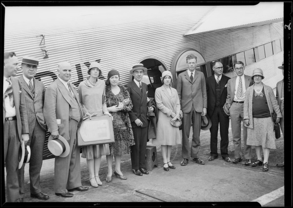 Lindbergh and Tomlinson, also group going and Fusco, Southern California, 1929