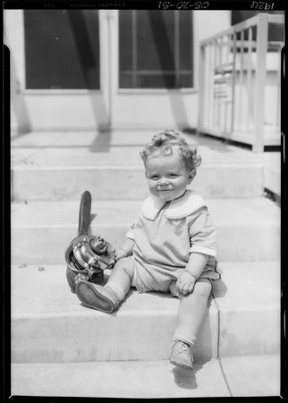 Baby with Martin shock absorber, Southern California, 1926