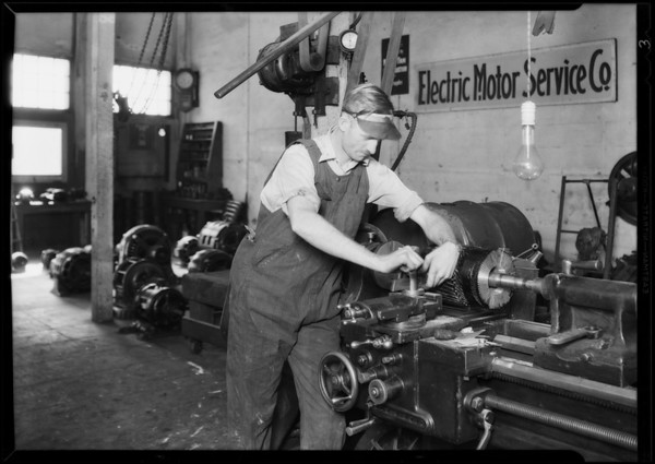 Former students on their respective jobs, National Auto School, Southern California, 1930