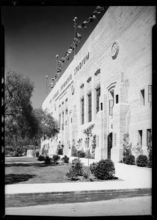 Exterior views of swimming stadium, Southern California, 1932