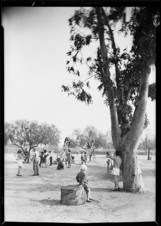 Retake on playground shot for cover, Los Angeles Playground department, Southern California, 1930