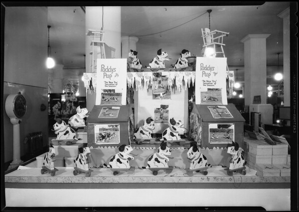 Toy dog display, May Co. toy department, Southern California, 1930