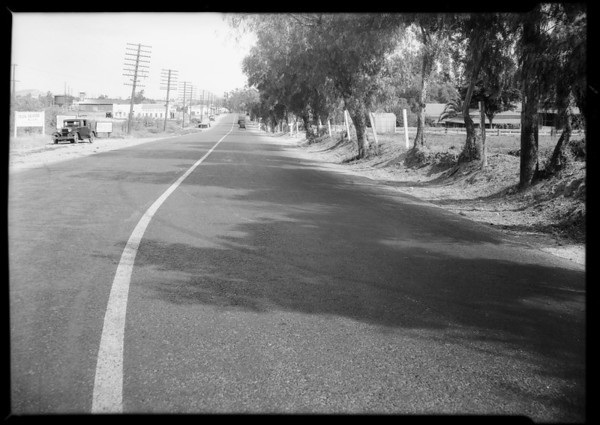Skid marks, San Fernando Road, and car, Southern California, 1931