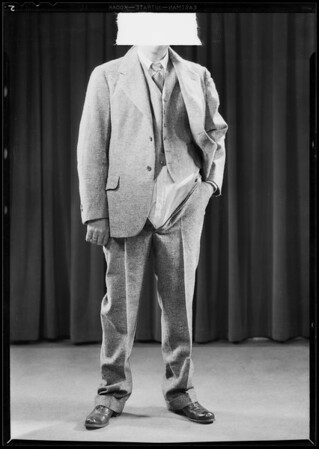 Mr. Harrison & ill-fitting suit, Southern California, 1931