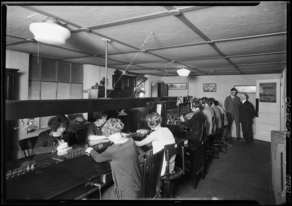 "Telephone girls, ""Sam"" the tailor, employment office, Yellow Cab Co., Southern California, 1926"