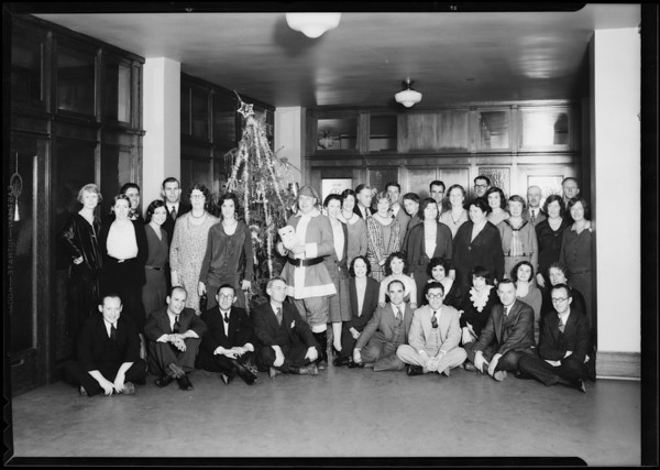Christmas group in playground department, Los Angeles, CA, 1930