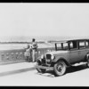 Logan Stebbins in Chevrolet on bridge at Del Mar, CA, 1927