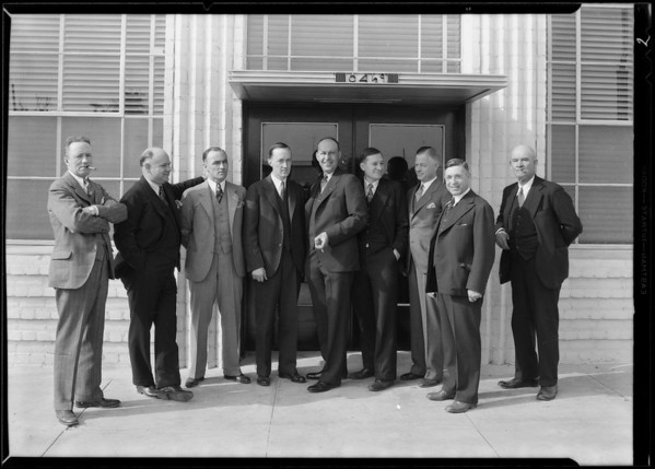 Mr. Martin and Eastern visitors at plant, Southern California, 1930