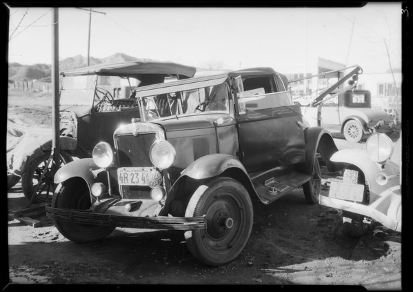 Chevrolet Cabriolet at cut-off garage, Angeles Indemnity Co, Southern California, 1934