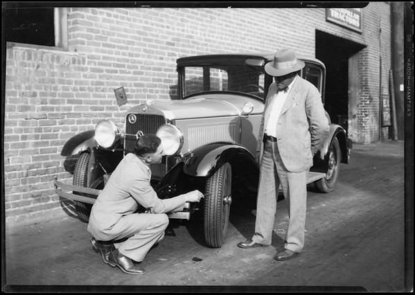 Racine tires on new Studebaker, Southern California, 1928
