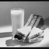 Glass of milk, sandwich and cake, Certified Milk Association, Southern California, 1931