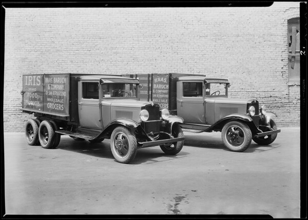 Haas Baruch Co. trucks, Southern California, 1931