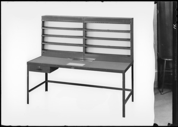 Stools and movie table and drawers, Worley & Co, Southern California, 1930