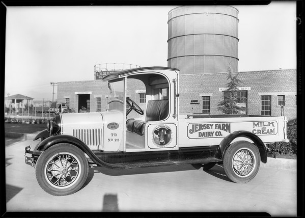 Fleet at creamery (Jersey Farm), 6001 South Van Ness Avenue, Los Angeles, CA, 1928