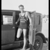Channel swimmer and Peerless car, Southern California, 1926
