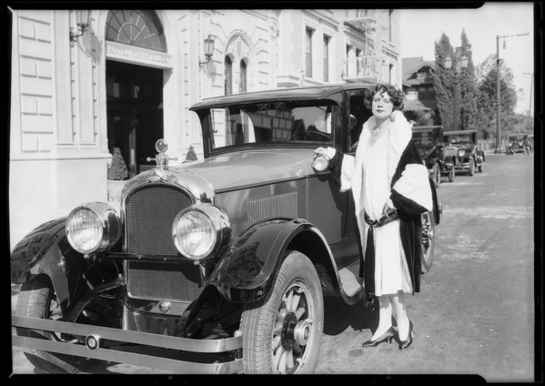 Magnin gown and Marmon at Ambassador, Southern California, 1925