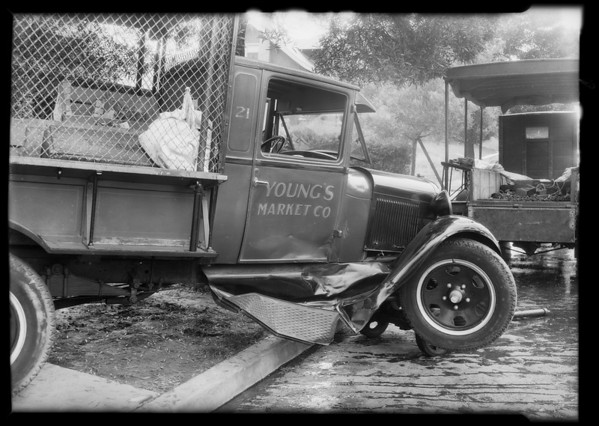 Wrecked Young's Market Co. truck at intersection, West 9th Street and South New Hampshire Avenue, Los Angeles, CA, 1931